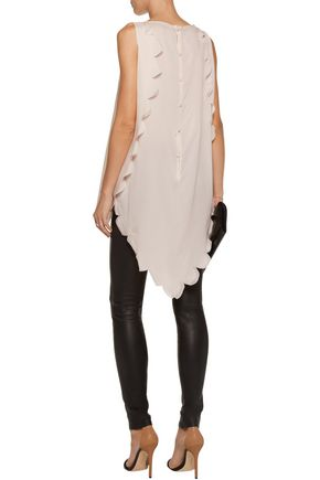 ANTONIO BERARDI Asymmetric stretch-silk chiffon top