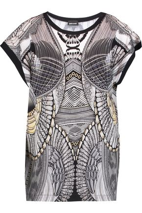 JUST CAVALLI Printed stretch-jersey top