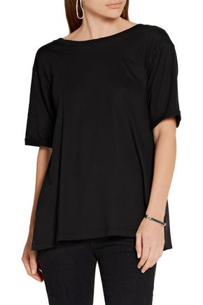 MM6 by MAISON MARGIELA Open-back cotton-jersey and washed-satin top