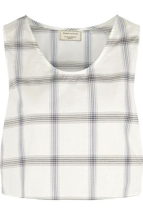 MAISON KITSUNÉ Ana cropped checked wrap-around cotton-poplin top
