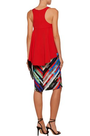 MILLY Pleated crepe top