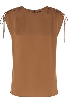 THEORY Malkara Modern ruched silk-satin top
