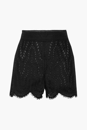 VALENTINO Broderie anglaise cotton-blend gauze shorts