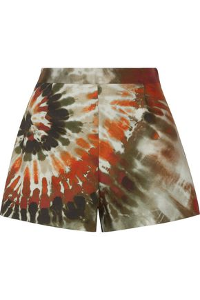 VALENTINO Printed cotton-blend twill shorts