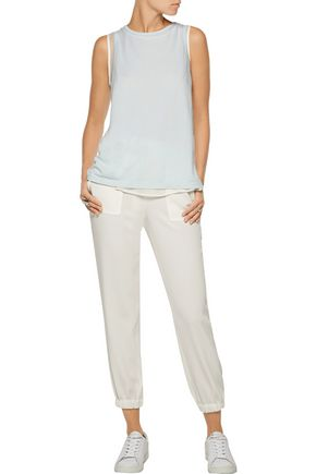CLU Layered silk crepe de chine and cotton and modal-blend top