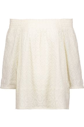 CURRENT/ELLIOTT The Smocked off-the-shoulder embroidered cotton-broadcloth top