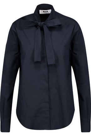 MSGM Pussy-bow stretch cotton-poplin shirt