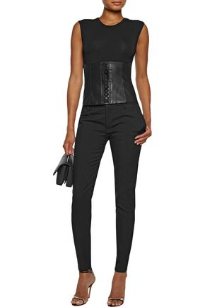 BAILEY 44 Lace-up faux leather-paneled jersey top