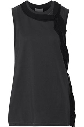 3.1 PHILLIP LIM Silk-trimmed cotton-jersey tank