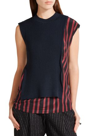 3.1 PHILLIP LIM Layered ribbed wool-blend and silk crepe de chine top
