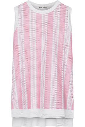ACNE STUDIOS Jackie striped laser-cut crepe top