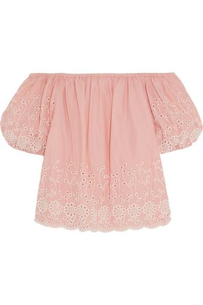 SEE BY CHLOÉ Off-the-shoulder broderie anglaise cotton-poplin top