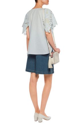SEE BY CHLOÉ Macramé lace-paneled cotton-voile top