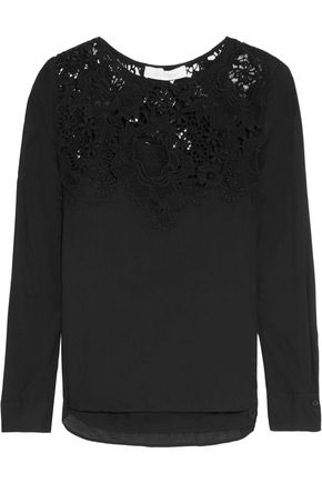 SEE BY CHLOÉ Crochet-paneled cotton-voile blouse
