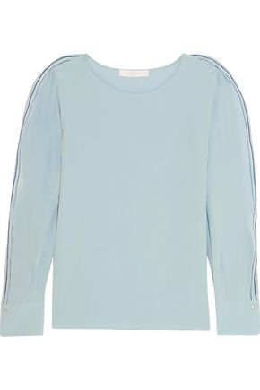 SEE BY CHLOÉ Embroidered ruffled silk crepe de chine top
