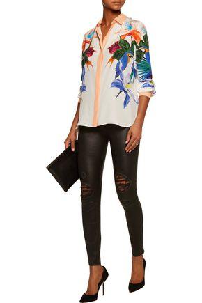ROBERTO CAVALLI Floral-print silk crepe de chine shirt