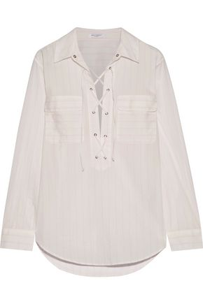 EQUIPMENT FEMME Knox lace-up striped cotton shirt