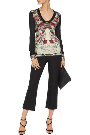 ROBERTO CAVALLI Printed crepe and chiffon top
