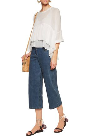 CHLOÉ Ruffled cotton-crepon blouse