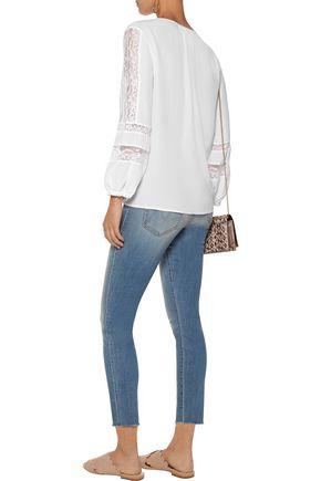 JOIE Durango cotton-blend lace-paneled washed-silk blouse