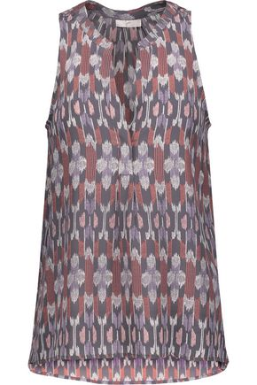 JOIE Aruna pleated printed washed-silk top