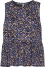 CURRENT/ELLIOTT Printed cotton-broadcloth peplum top