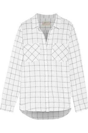 CURRENT/ELLIOTT The Double Pocket Boyfriend checked linen and cotton-blend shirt