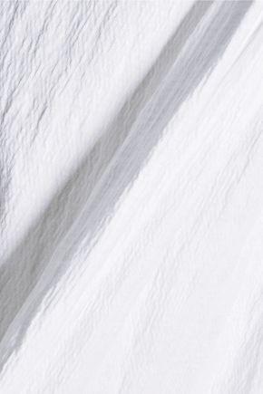 CURRENT/ELLIOTT Pintucked textured stretch-cotton top