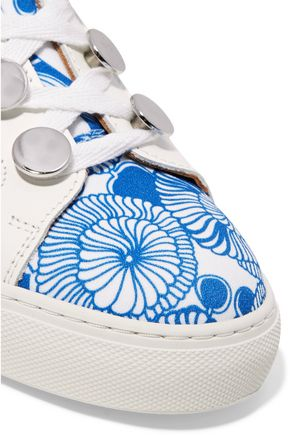 CARVEN Paneled printed crepe and leather sneakers