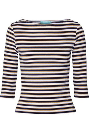 MELISSA ODABASH Cali metallic striped stretch-knit top