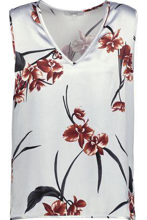 GANNI Floral-print satin top