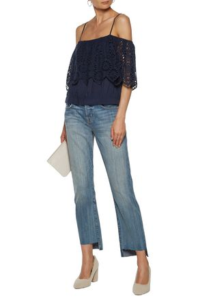 GANNI Cold-shoulder broderie anglaise top