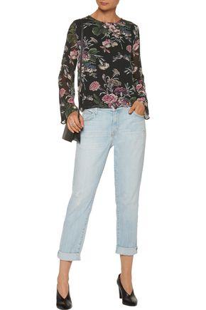 GANNI Floral-print crepe blouse