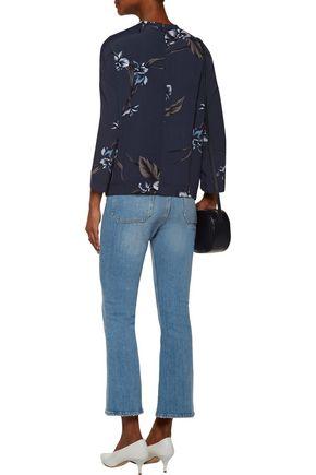 GANNI Floral-print crepe top