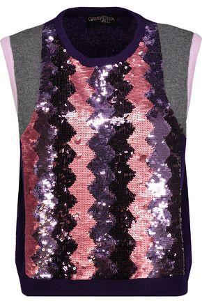 GIAMBATTISTA VALLI Sequin-embellished cashmere top