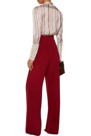 GIAMBATTISTA VALLI Crocheted cotton blend-paneled striped silk-satin blouse