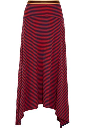 STELLA McCARTNEY Draped striped cotton-jersey midi skirt