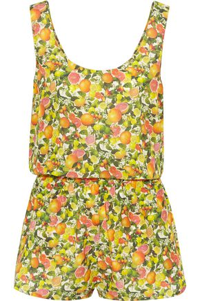 STELLA McCARTNEY Printed cotton and silk-blend playsuit