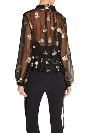 CHLOÉ Embroidered silk-chiffon blouse