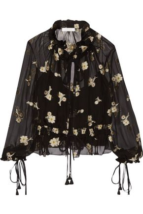 CHLOÉ Embroidered gathered silk-chiffon blouse