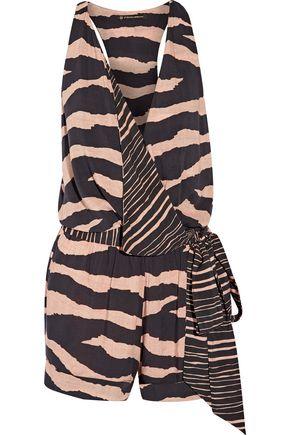 VIX Lanai Layla wrap-effect striped voile playsuit