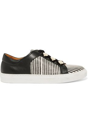 CARVEN Striped leather sneakers