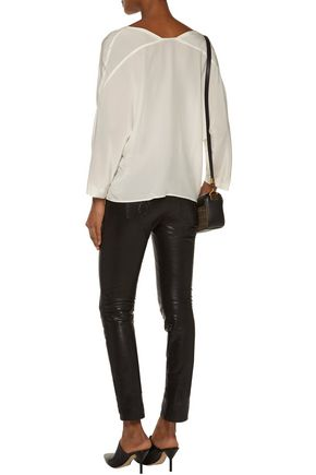SANDRO Cotton lace-trimmed washed-silk blouse