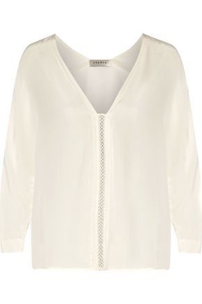 SANDRO Paris Cotton lace-trimmed washed-silk blouse