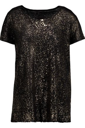 RTA Nicola metallic cotton and cashmere-blend T-shirt
