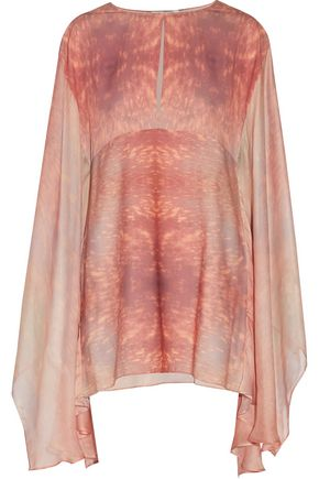 ALEXIS Yves draped printed crepe de chine and chiffon kaftan