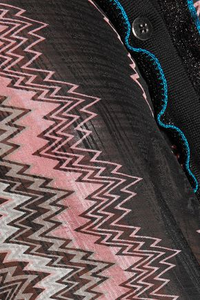 MISSONI Ruffled crochet knit-trimmed printed silk-blend gauze shirt