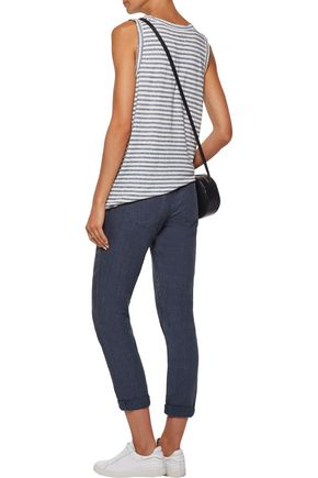 CURRENT/ELLIOTT The Muscle Tee distressed striped stretch-jersey tank