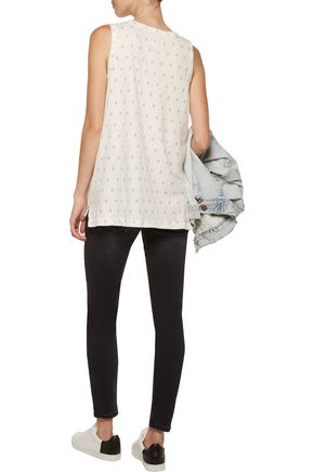CURRENT/ELLIOTT The Muscle distressed printed cotton-jersey tank