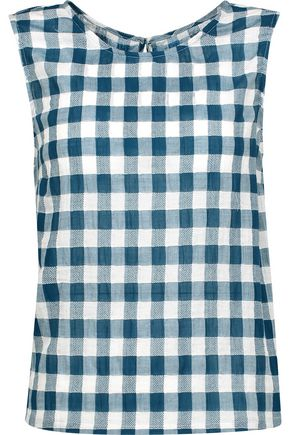 CURRENT/ELLIOTT The Boxy gingham cotton-blend gauze top